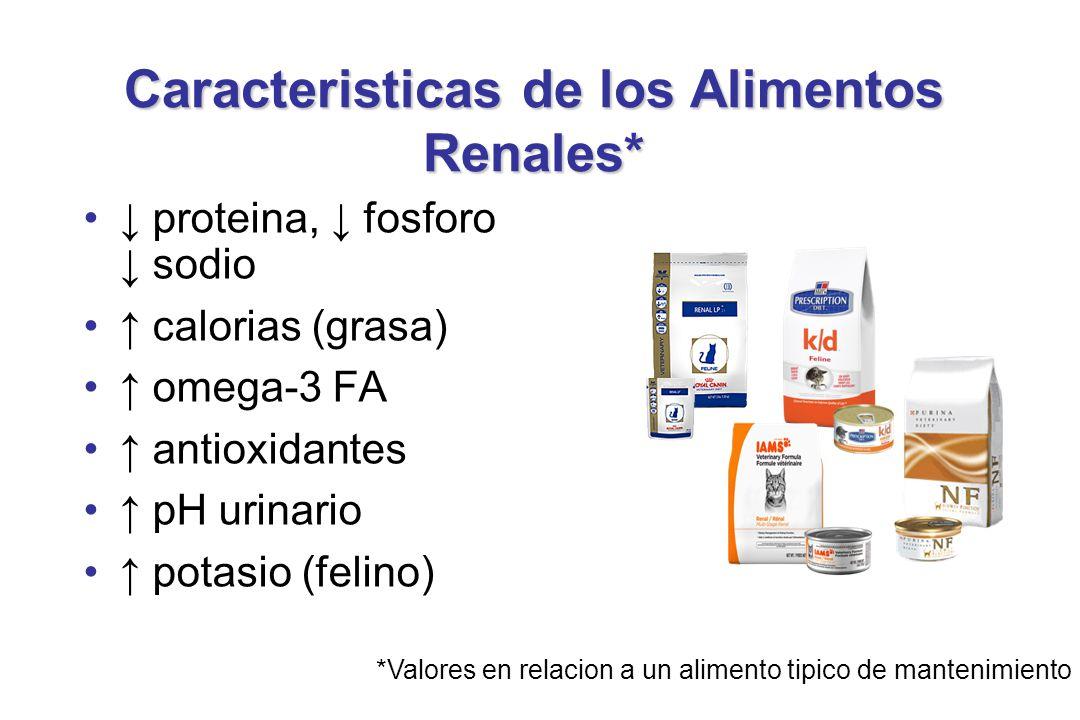 Caracteristicas de los Alimentos Renales* proteina, fosforo sodio calorias (grasa) omega-3 FA antioxidantes pH urinario potasio (felino) *Valores en relacion a un alimento tipico de mantenimiento
