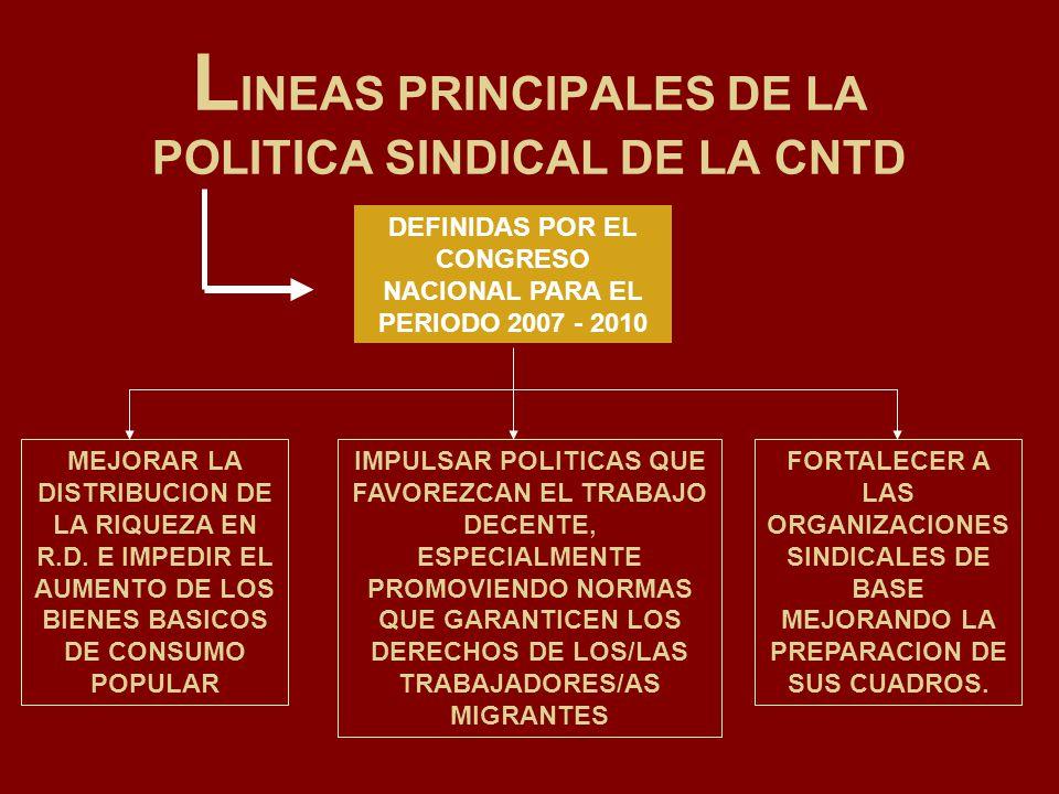 L INEAS PRINCIPALES DE LA POLITICA SINDICAL DE LA CNTD DEFINIDAS POR EL CONGRESO NACIONAL PARA EL PERIODO 2007 - 2010 MEJORAR LA DISTRIBUCION DE LA RI