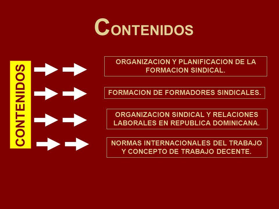 C ONTENIDOS FORMACION DE FORMADORES SINDICALES. ORGANIZACION Y PLANIFICACION DE LA FORMACION SINDICAL. ORGANIZACION SINDICAL Y RELACIONES LABORALES EN