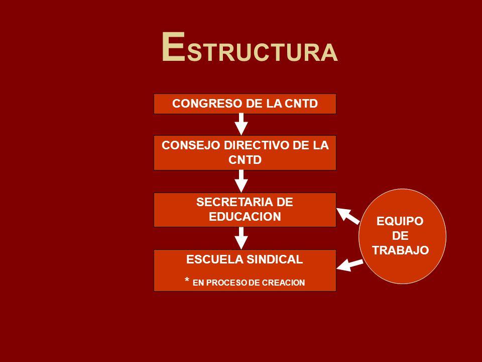 E STRUCTURA CONGRESO DE LA CNTD CONSEJO DIRECTIVO DE LA CNTD SECRETARIA DE EDUCACION ESCUELA SINDICAL * EN PROCESO DE CREACION EQUIPO DE TRABAJO