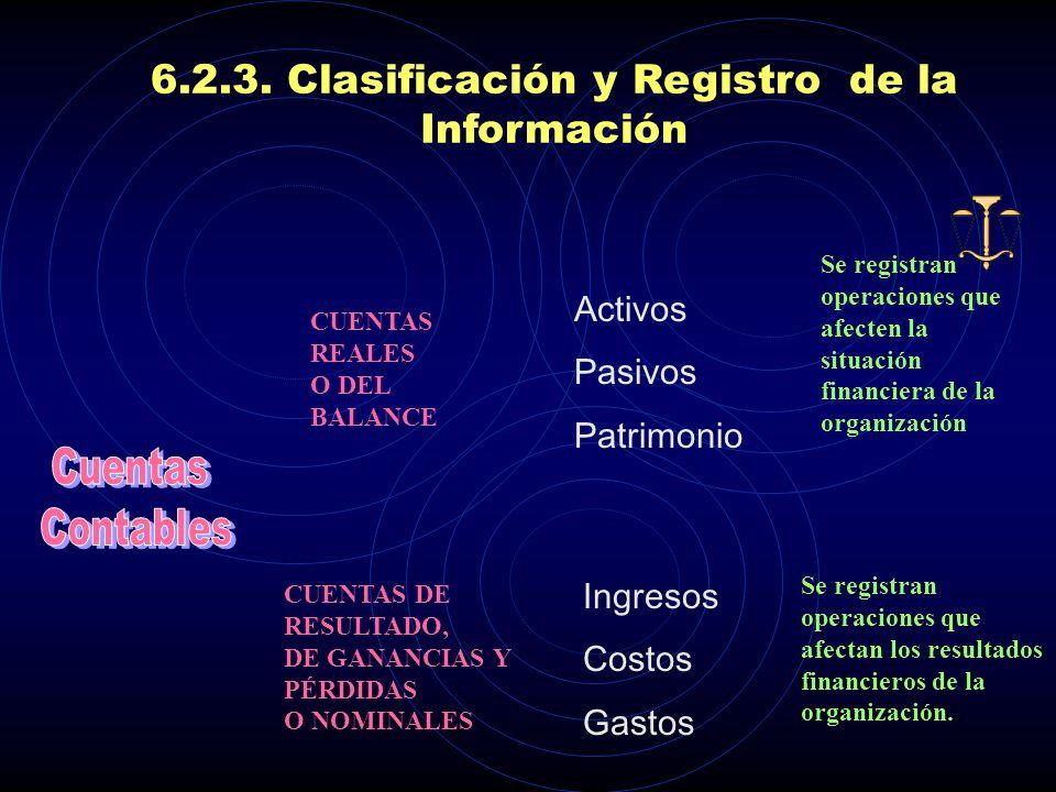 6.2.3. Clasificación y Registro de la Información DEBEHABER El DEBE o cargo se coloca a la izquierda El HABER se coloca a la derecha. Para realizar lo