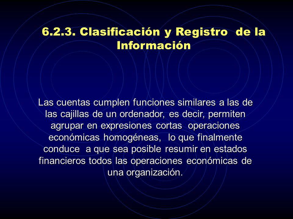 6.2.3. Clasificación y Registro de la Información Activos Pasivos Patrimonio Ingresos Costos Gastos CUENTAS REALES O DEL BALANCE CUENTAS DE RESULTADO,