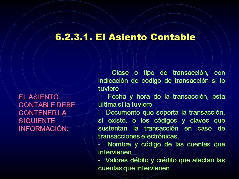 6.2.3.1. El Asiento Contable De la combinación de las convenciones debe y haber con las cuentas surge el asiento contable. ASIENTO CONTABLE Es la unid
