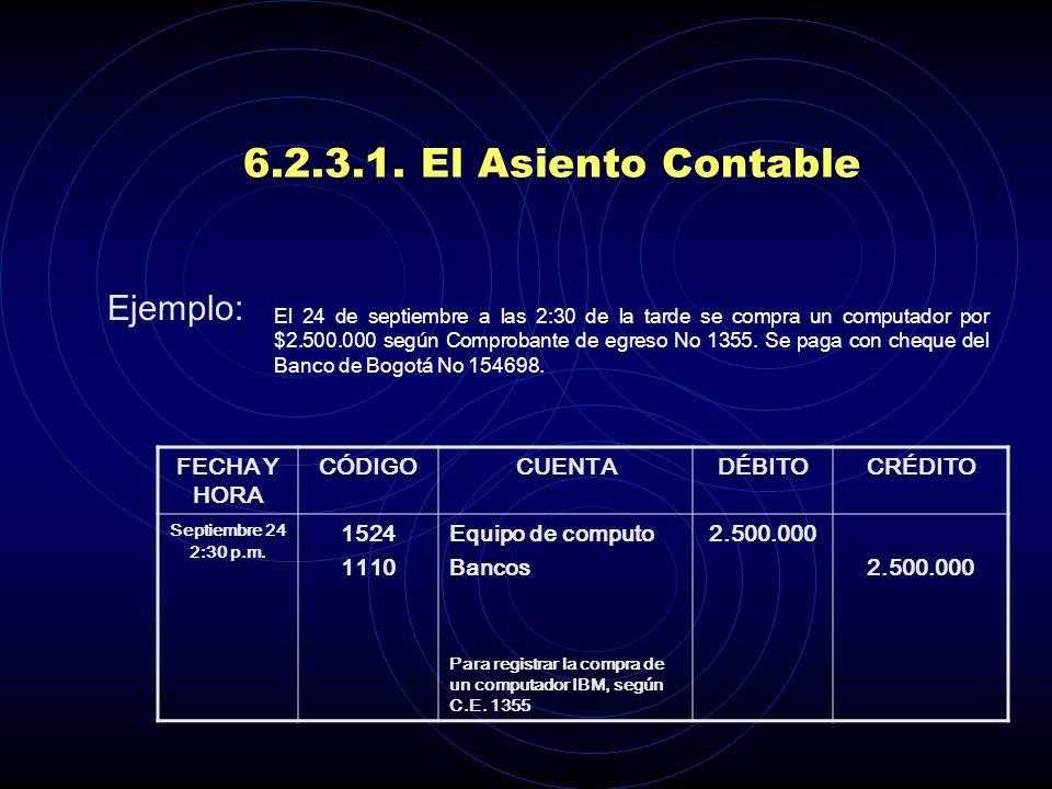 6.2.3.1. El Asiento Contable - Clase o tipo de transacción, con indicación de código de transacción si lo tuviere - Fecha y hora de la transacción, es