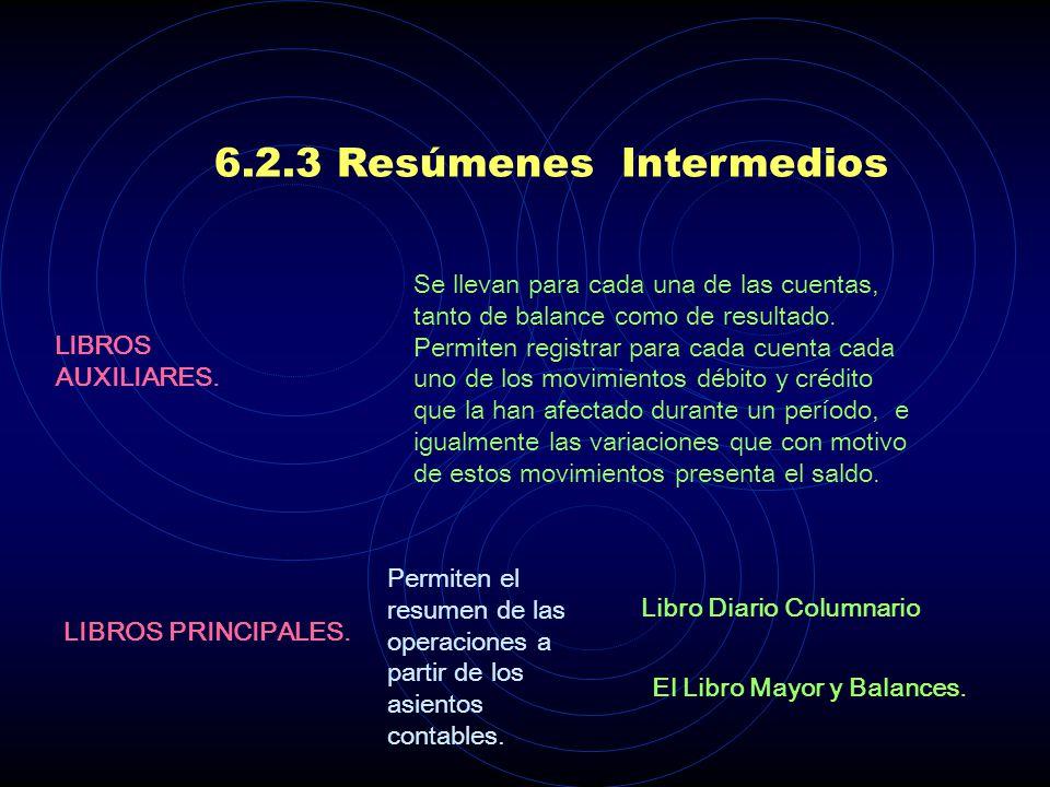6.2.3 Resúmenes Intermedios A partir de los asientos contables se realiza un proceso gradual de resumen de la información OBJETIVOS Dejar una memoria