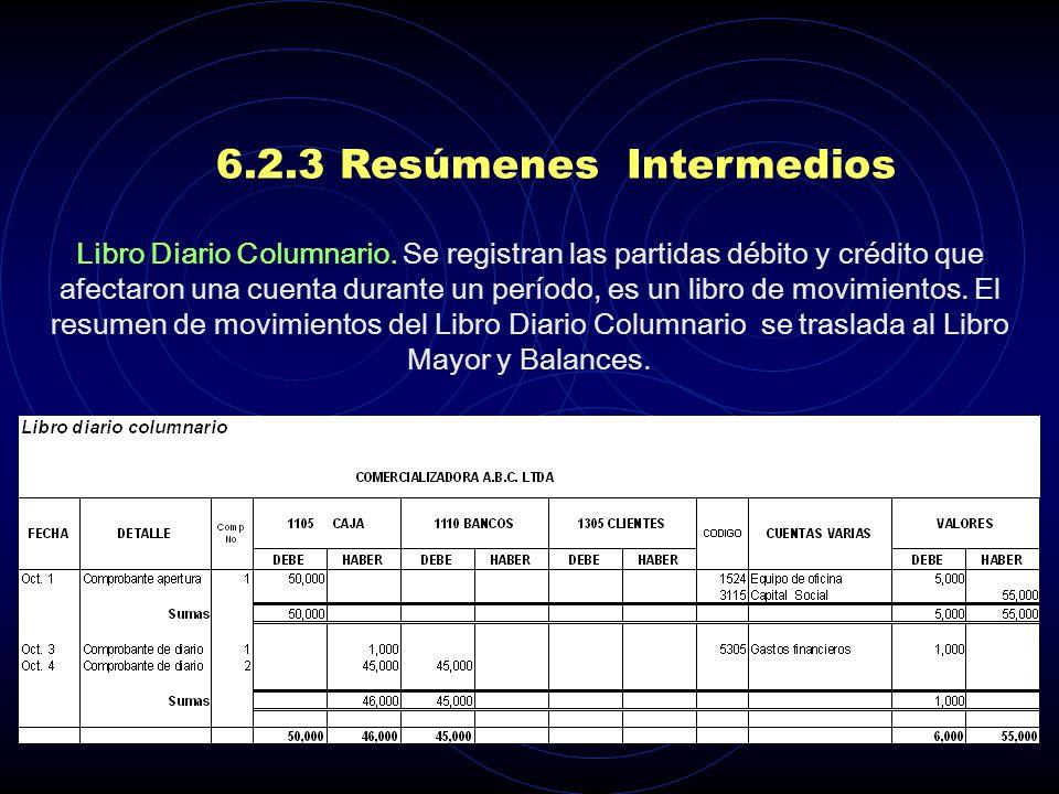 6.2.3 Resúmenes Intermedios LIBROS AUXILIARES. Se llevan para cada una de las cuentas, tanto de balance como de resultado. Permiten registrar para cad