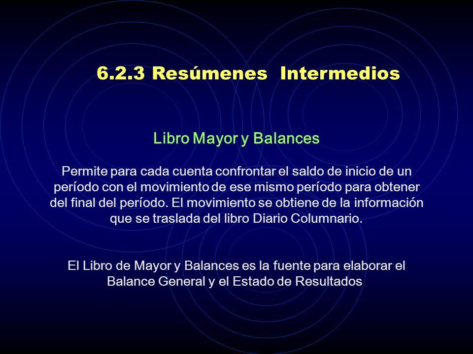 6.2.3 Resúmenes Intermedios Libro Diario Columnario. Se registran las partidas débito y crédito que afectaron una cuenta durante un período, es un lib
