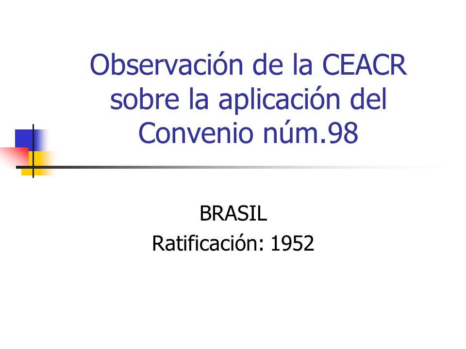 Observación de la CEACR sobre la aplicación del Convenio núm.98 BRASIL Ratificación: 1952
