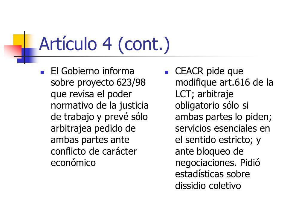 Artículos 4 y 6 Necesidad de que funcionarios públicos que no están empleados en la administración del Estado gocen del derecho de negociación colectiva (Gob.