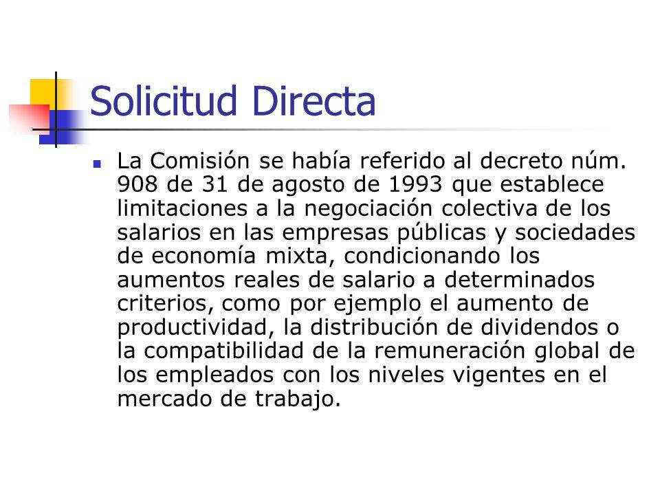 Solicitud Directa (cont.) Decreto tácitamente derogado por el decreto núm.
