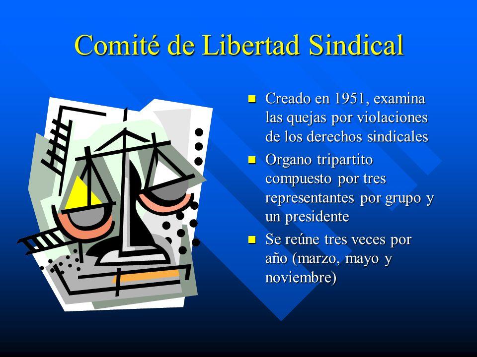Comité de Libertad Sindical Creado en 1951, examina las quejas por violaciones de los derechos sindicales Organo tripartito compuesto por tres representantes por grupo y un presidente Se reúne tres veces por año (marzo, mayo y noviembre)