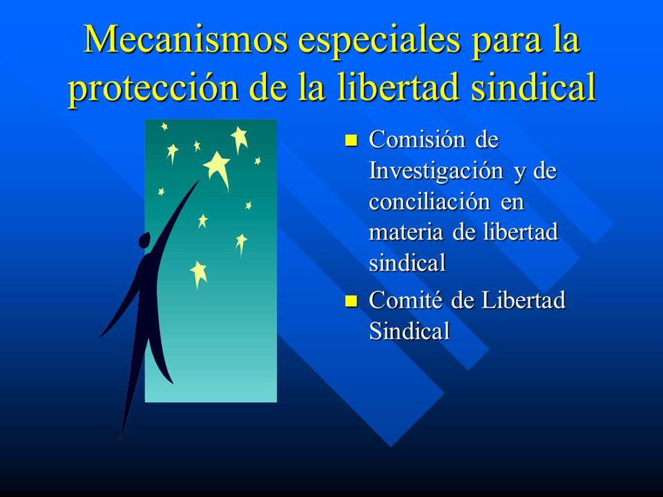 Mecanismos especiales para la protección de la libertad sindical Comisión de Investigación y de conciliación en materia de libertad sindical Comité de Libertad Sindical