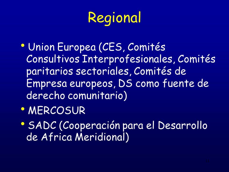 11 Regional Union Europea (CES, Comités Consultivos Interprofesionales, Comités paritarios sectoriales, Comités de Empresa europeos, DS como fuente de derecho comunitario) MERCOSUR SADC (Cooperación para el Desarrollo de Africa Meridional)