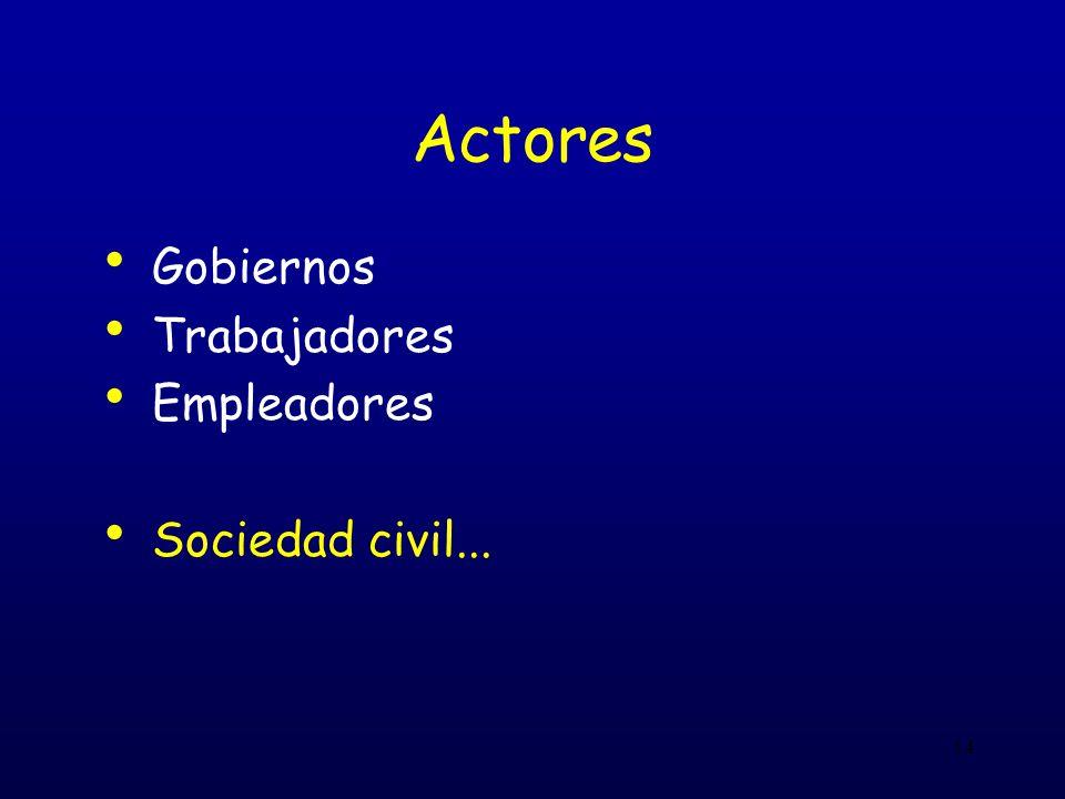 14 Actores Gobiernos Trabajadores Empleadores Sociedad civil...