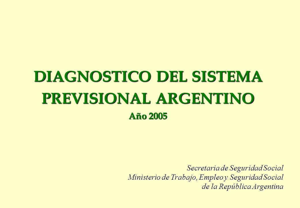 DIAGNOSTICO DEL SISTEMA PREVISIONAL ARGENTINO Año 2005 Secretaria de Seguridad Social Ministerio de Trabajo, Empleo y Seguridad Social de la República