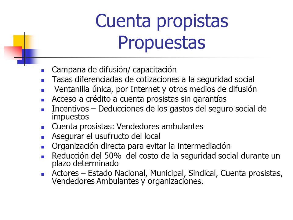Cuenta propistas Propuestas Campana de difusión/ capacitación Tasas diferenciadas de cotizaciones a la seguridad social Ventanilla única, por Internet