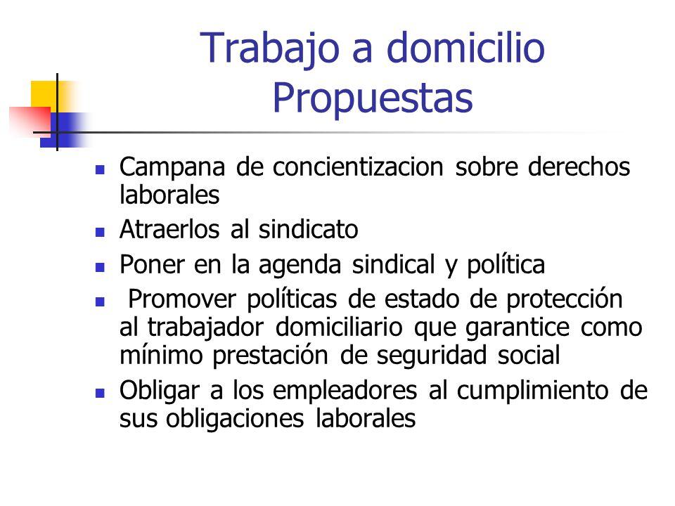 Trabajo a domicilio Propuestas Campana de concientizacion sobre derechos laborales Atraerlos al sindicato Poner en la agenda sindical y política Promo