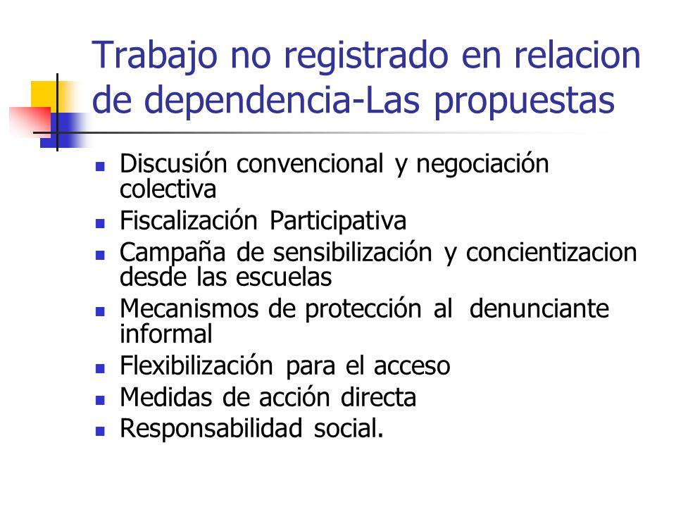 Trabajo no registrado en relacion de dependencia-Las propuestas Discusión convencional y negociación colectiva Fiscalización Participativa Campaña de