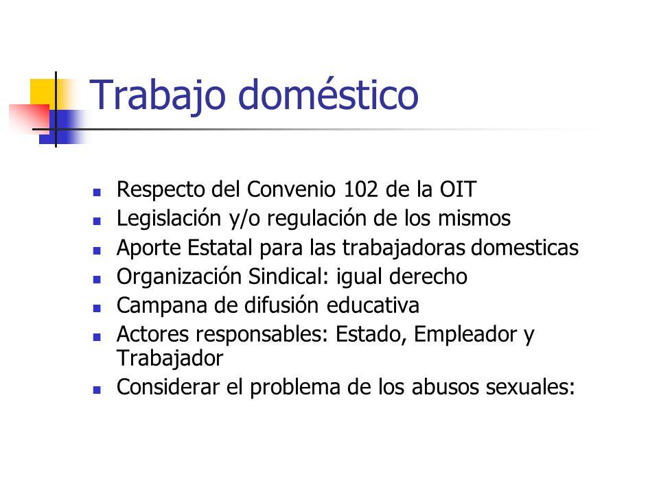 Trabajo doméstico Respecto del Convenio 102 de la OIT Legislación y/o regulación de los mismos Aporte Estatal para las trabajadoras domesticas Organiz
