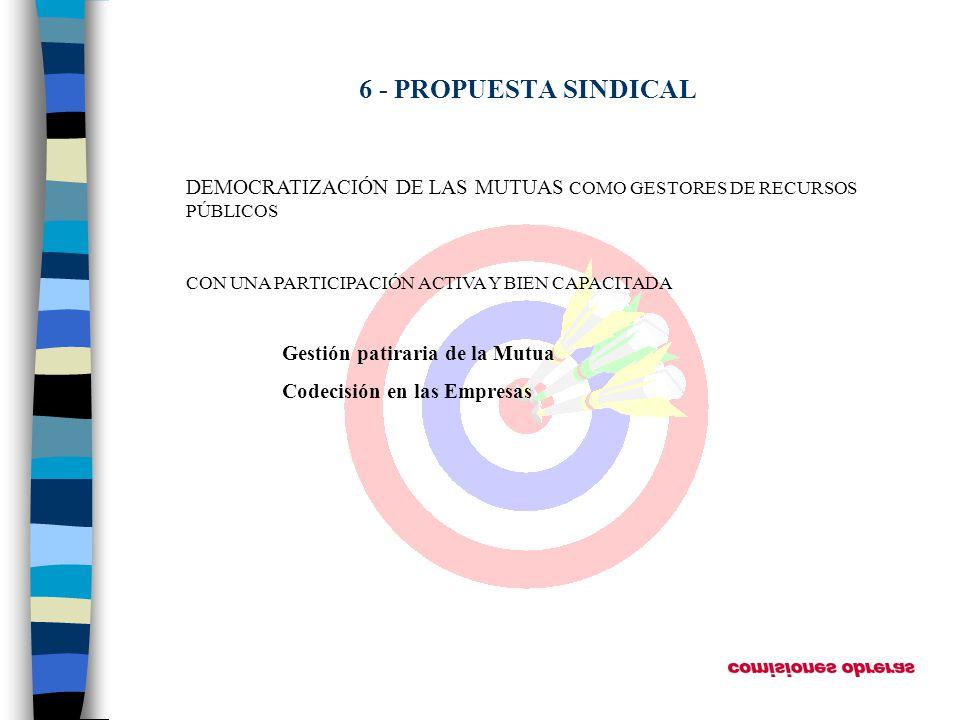 6 - PROPUESTA SINDICAL DEMOCRATIZACIÓN DE LAS MUTUAS COMO GESTORES DE RECURSOS PÚBLICOS CON UNA PARTICIPACIÓN ACTIVA Y BIEN CAPACITADA Gestión patirar