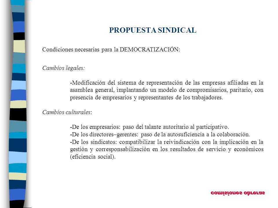 PROPUESTA SINDICAL Condiciones necesarias para la DEMOCRATIZACIÓN: Cambios legales: -Modificación del sistema de representación de las empresas afilia