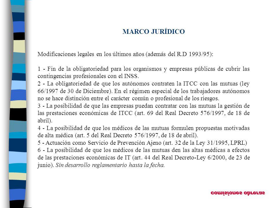 MARCO JURÍDICO Modificaciones legales en los últimos años (además del R.D 1993/95): 1 - Fin de la obligatoriedad para los organismos y empresas públic