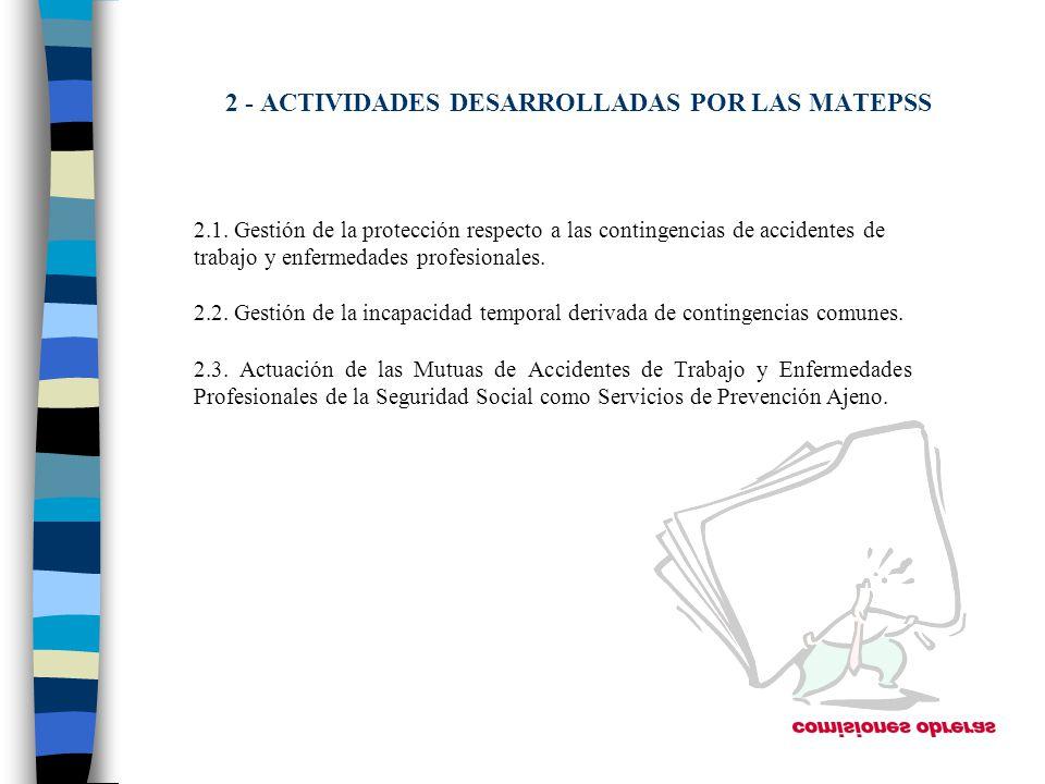 2 - ACTIVIDADES DESARROLLADAS POR LAS MATEPSS 2.1. Gestión de la protección respecto a las contingencias de accidentes de trabajo y enfermedades profe