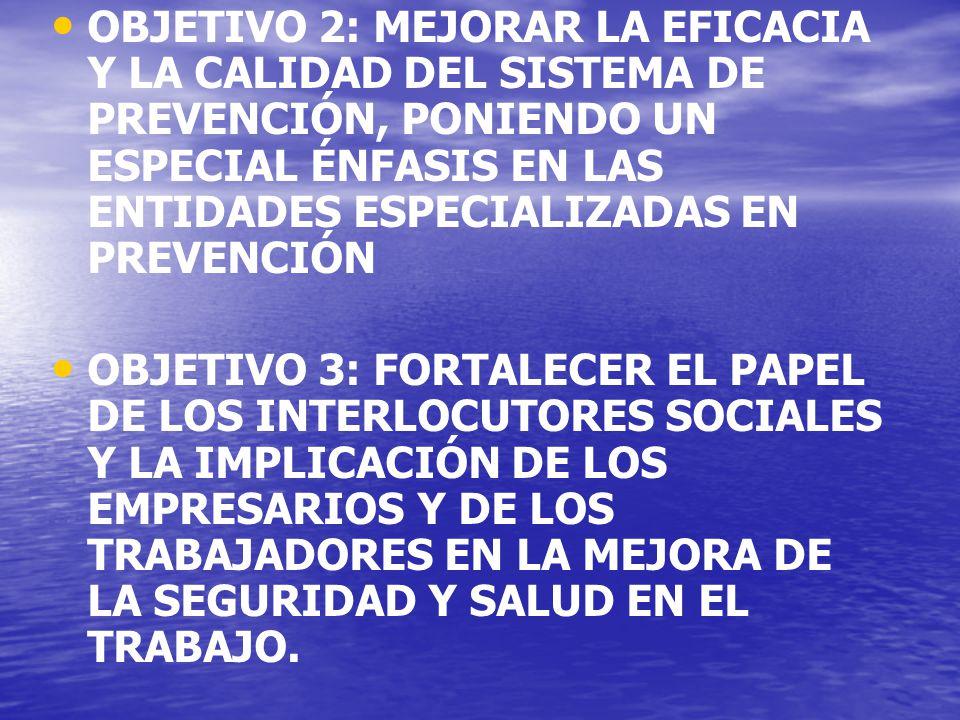 OBJETIVO 2: MEJORAR LA EFICACIA Y LA CALIDAD DEL SISTEMA DE PREVENCIÓN, PONIENDO UN ESPECIAL ÉNFASIS EN LAS ENTIDADES ESPECIALIZADAS EN PREVENCIÓN OBJETIVO 3: FORTALECER EL PAPEL DE LOS INTERLOCUTORES SOCIALES Y LA IMPLICACIÓN DE LOS EMPRESARIOS Y DE LOS TRABAJADORES EN LA MEJORA DE LA SEGURIDAD Y SALUD EN EL TRABAJO.