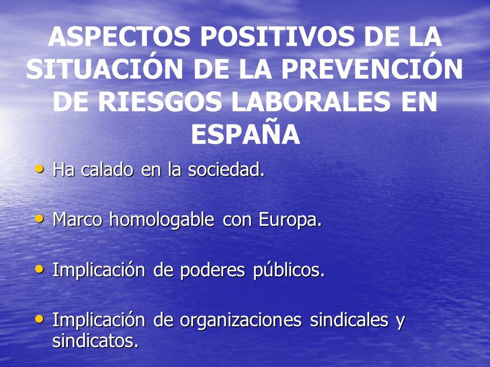 ASPECTOS POSITIVOS DE LA SITUACIÓN DE LA PREVENCIÓN DE RIESGOS LABORALES EN ESPAÑA Ha calado en la sociedad.