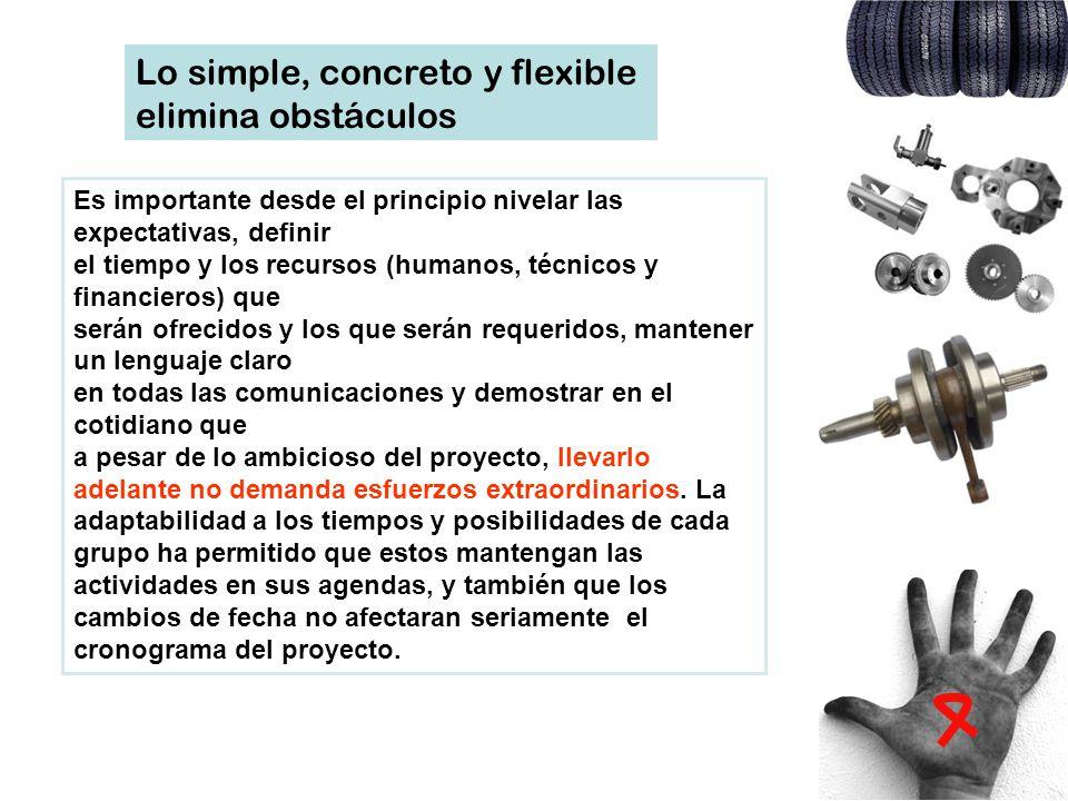 Lo simple, concreto y flexible elimina obstáculos Es importante desde el principio nivelar las expectativas, definir el tiempo y los recursos (humanos
