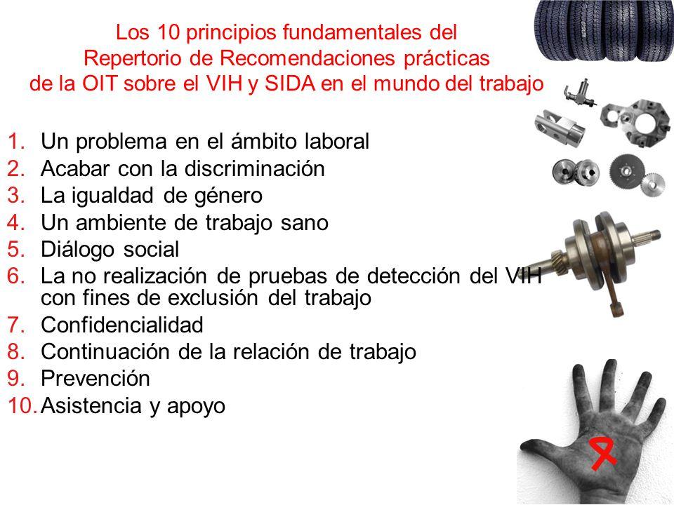 Los 10 principios fundamentales del Repertorio de Recomendaciones prácticas de la OIT sobre el VIH y SIDA en el mundo del trabajo 1.Un problema en el