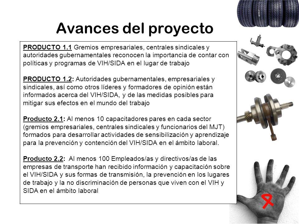 Avances del proyecto PRODUCTO 1.1 Gremios empresariales, centrales sindicales y autoridades gubernamentales reconocen la importancia de contar con pol