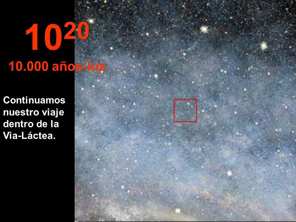 10 19 1.000 años-luz A esta distancia las estrellas parecen fundirse.