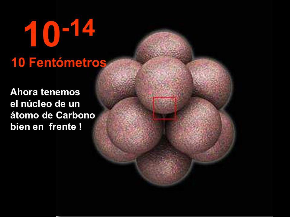 En este increíble y minúsculo tamaño comenzamos a observar el núcleo del átomo, así de pequeño.
