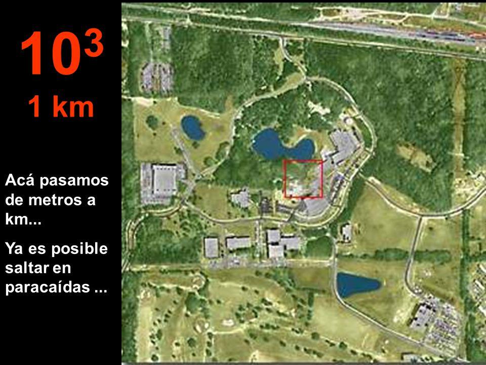 A esta distancia ya podemos ver la forestación bien definida, un pedazo del lago y las edificaciones 10 2 100 metros