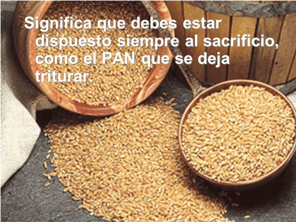 Significa que debes cultivar la ternura y la bondad, porque así es el pan: TIERNO Y BUENO.