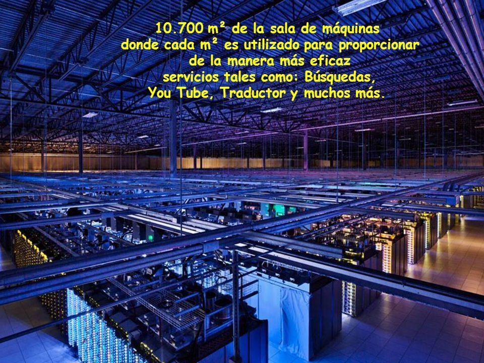 10.700 m² de la sala de máquinas donde cada m² es utilizado para proporcionar de la manera más eficaz servicios tales como: Búsquedas, You Tube, Traductor y muchos más.