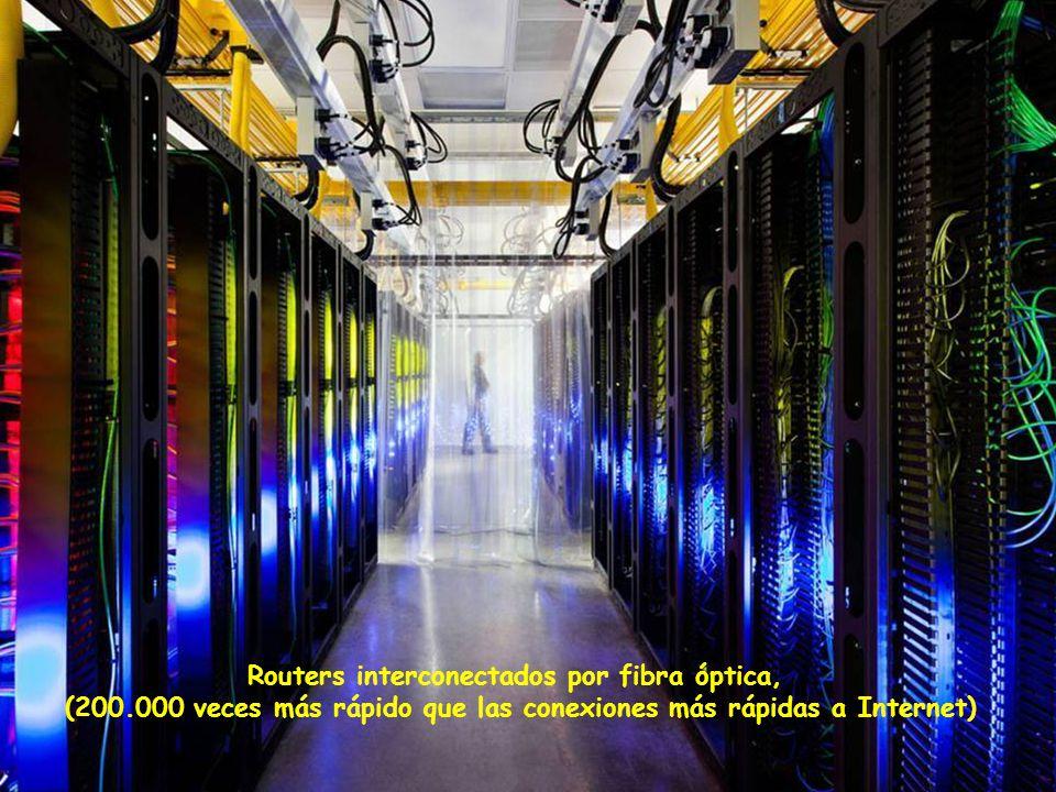 Routers interconectados por fibra óptica, (200.000 veces más rápido que las conexiones más rápidas a Internet)