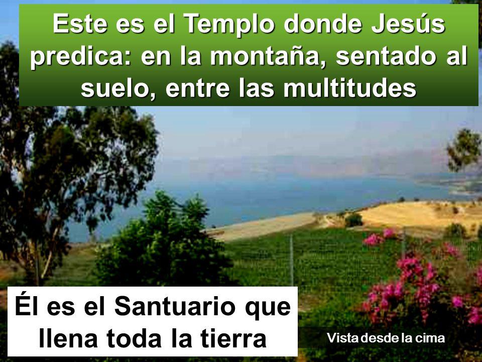 Este es el Templo donde Jesús predica: en la montaña, sentado al suelo, entre las multitudes Él es el Santuario que llena toda la tierra Vista desde la cima