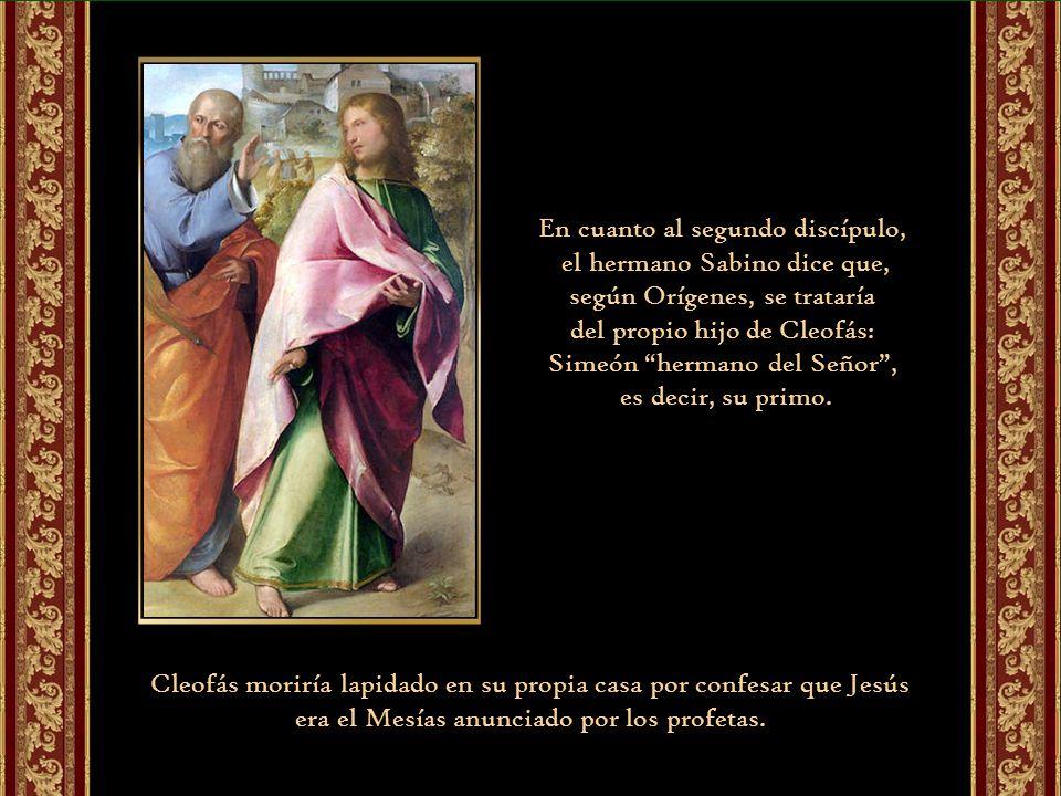 Según la tradición recogida por los franciscanos, los dos discípulos de Emaús serían Cleofás y Simeón. Un folleto del hermano Sabino de Sandoli, ofm,