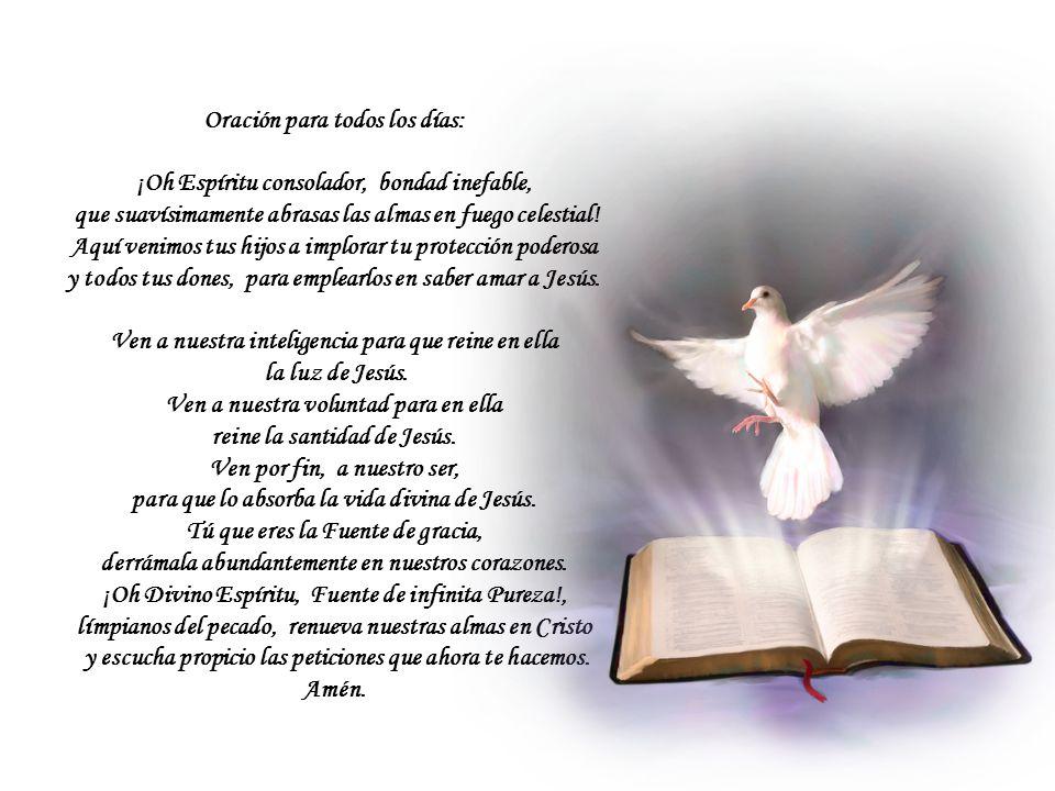 Oración para todos los días: ¡Oh Espíritu consolador, bondad inefable, que suavísimamente abrasas las almas en fuego celestial.