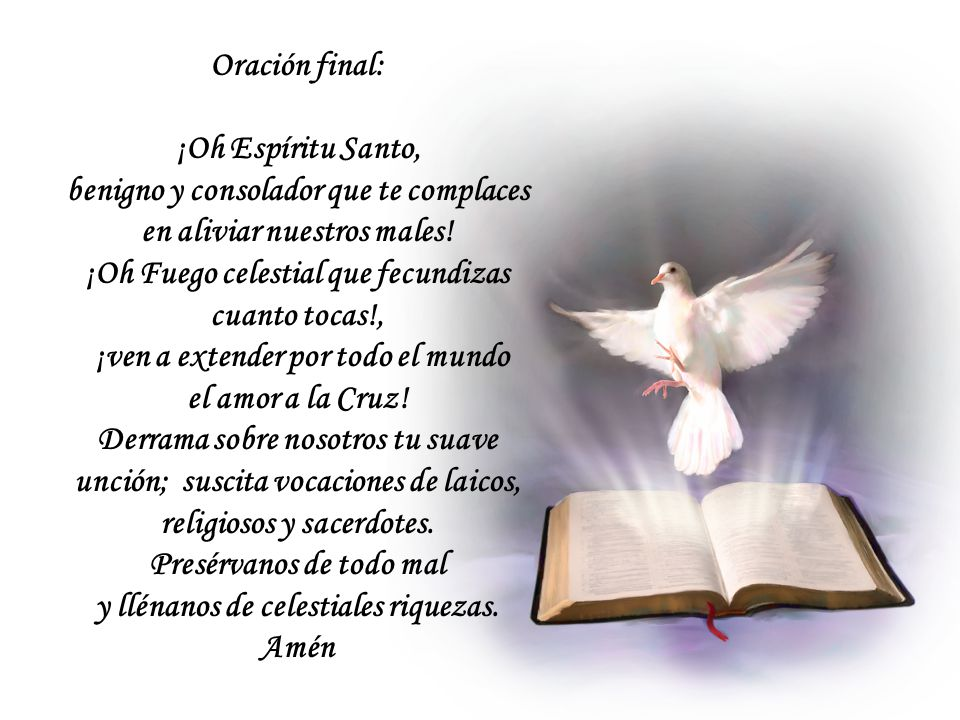 Oración final: ¡Oh Espíritu Santo, benigno y consolador que te complaces en aliviar nuestros males.