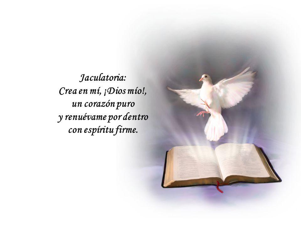 Oración final: ¡Oh Espíritu Santo, benigno y consolador que te complaces en aliviar nuestros males! ¡Oh Fuego celestial que fecundizas cuanto tocas!,
