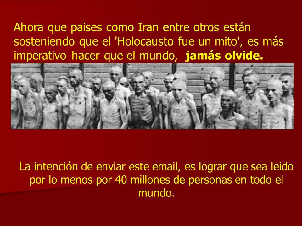 Este pps está siendo enviado, como una corriente recordatoria, en memoria de los 6 millones de judíos, 20 millones de rusos, 10 millones de cristianos, y sacerdotes católicos que fueran asesinados, masacrados, violados, quemados, muertos de hambre y humillados mientras Alemania y Rusia miraban en otras direcciones.