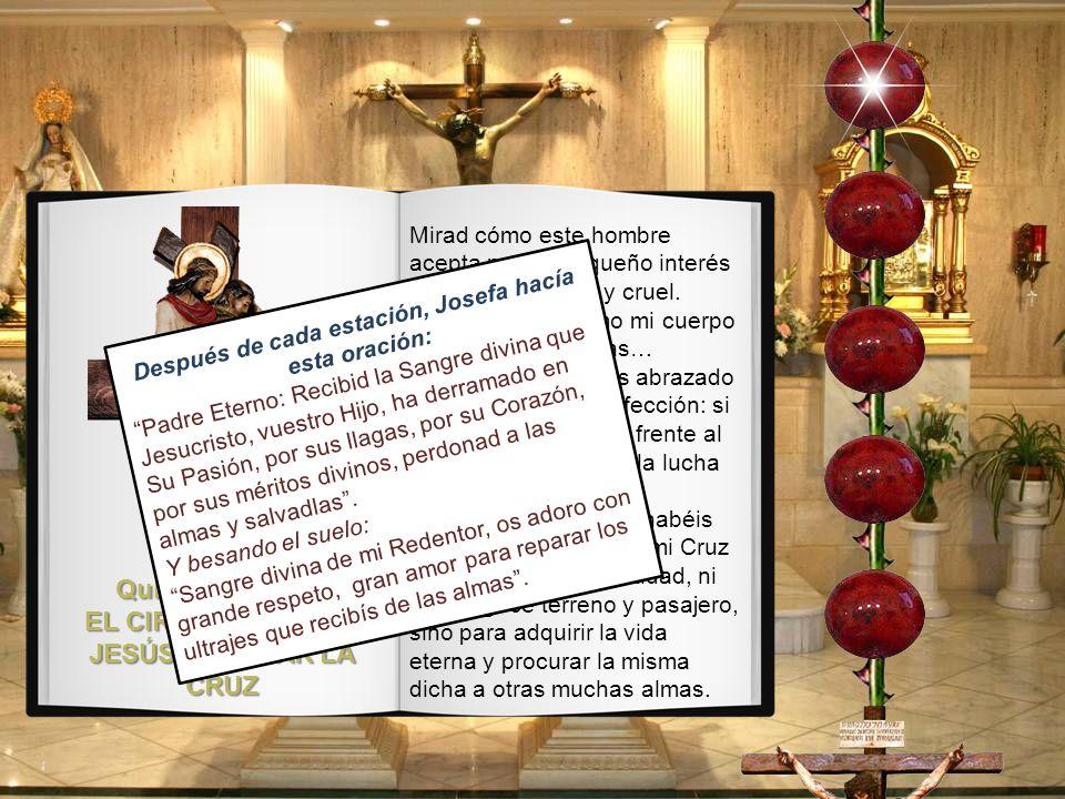 Cuarta Estación: JESÚS ENCUENTRA A SU SANTÍSIMA MADRE Aquí encuentra a mi Santísima y querida Madre: contempla el martirio de estos dos corazones. Per