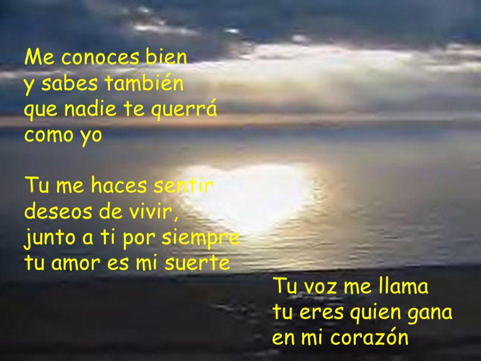 Como la brisa tu voz me acaricia y pregunto por ti Cuando amanece tu amor aparece y me hace feliz