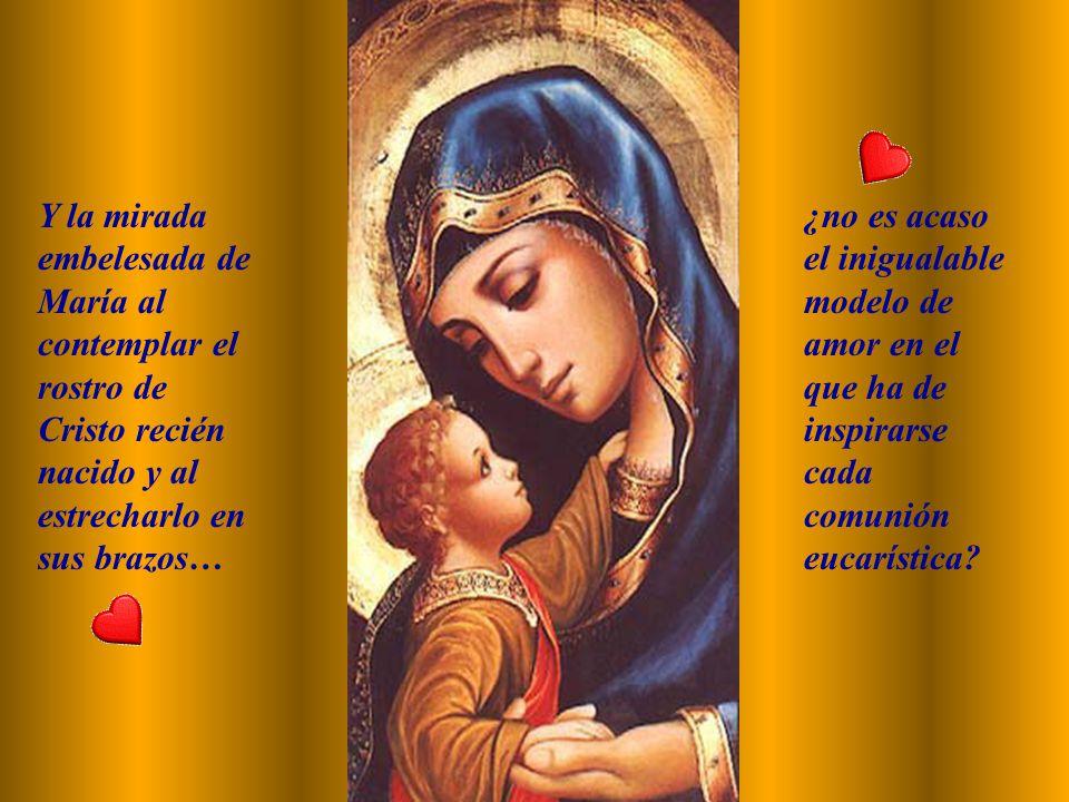 María ha anticipado también en el misterio de la Encarnación la fe eucarística de la Iglesia. Cuando, en la Visitación, lleva en su seno el Verbo hech
