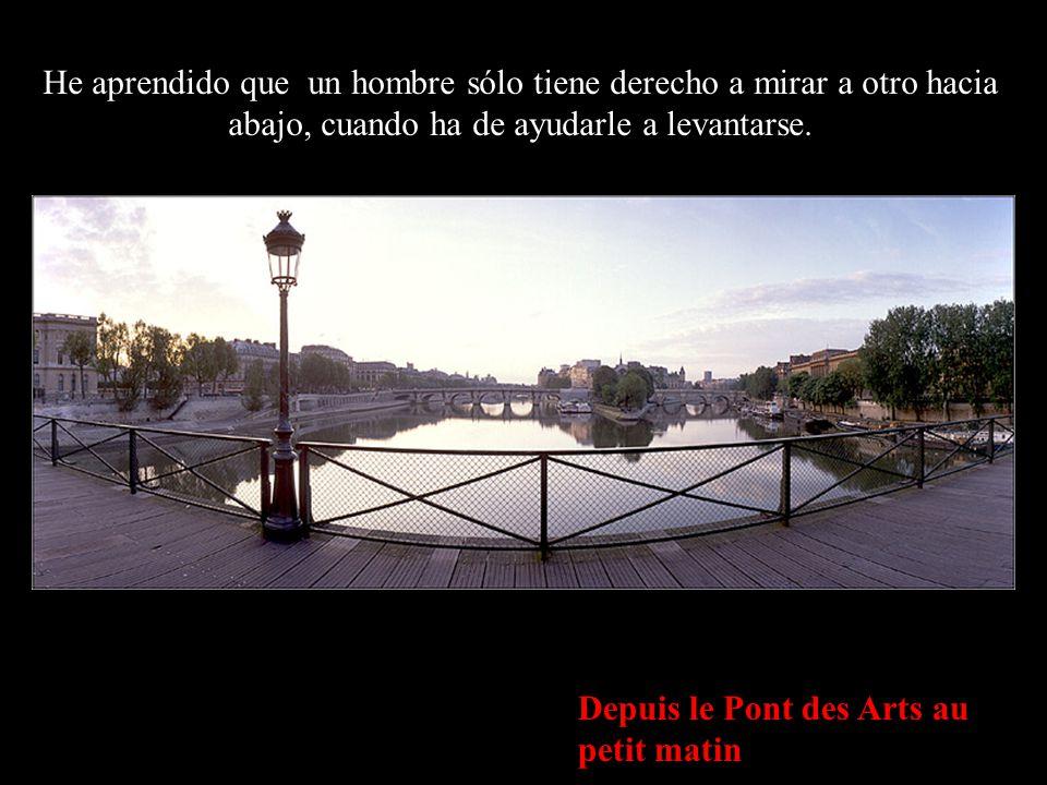 L'Institut de France & le Pont Neuf depuis le Pont des Arts He aprendido que cuando un recién nacido aprieta con su pequeño puño, por primera vez, el