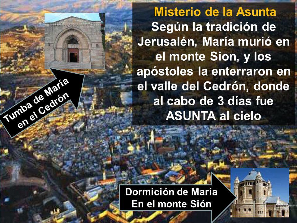 www.vitanoblepowerpoints.net Misterio de la Asunta Según la tradición de Jerusalén, María murió en el monte Sion, y los apóstoles la enterraron en el valle del Cedrón, donde al cabo de 3 días fue ASUNTA al cielo Tumba de María en el Cedrón Dormición de María En el monte Sión