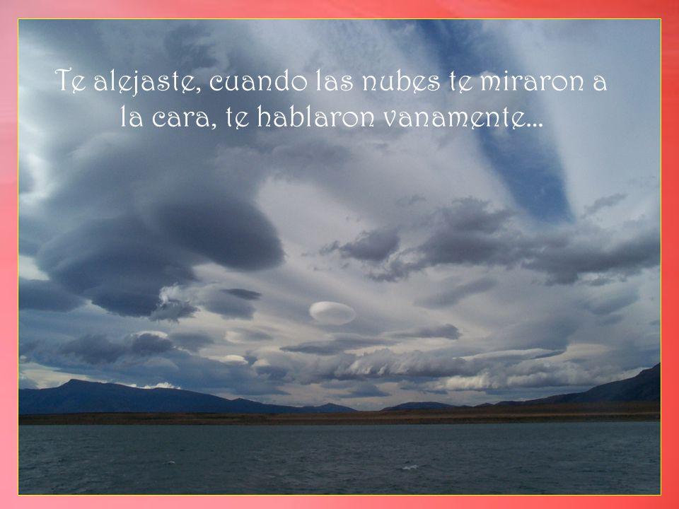 Te alejaste, cuando las nubes te miraron a la cara, te hablaron vanamente…
